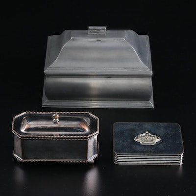 Italian Pewter Casket, Victoria Silver Plate Box and Other Double Inkwell Case