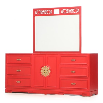 Ricardo Lynn & Co. Red-Painted and Green Marble Ten-Drawer Chinoiserie Dresser