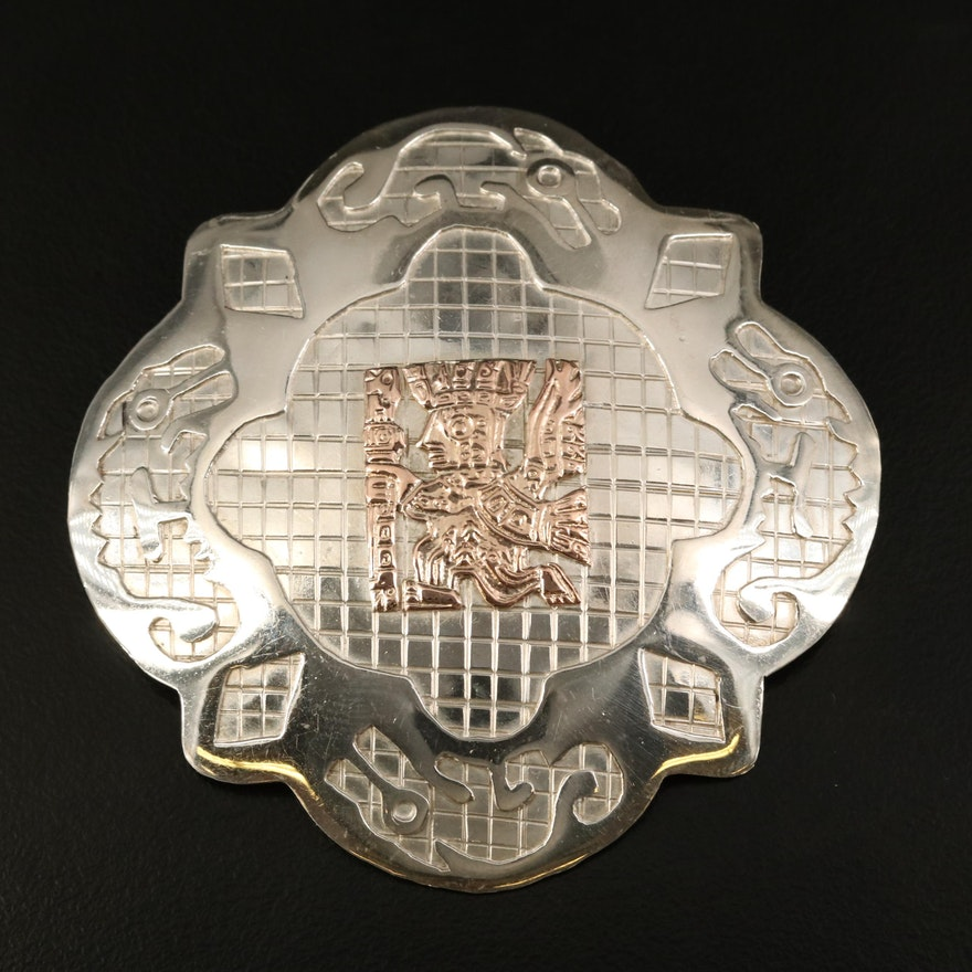 Peruvian Sterling Converter Brooch with 18K Accent