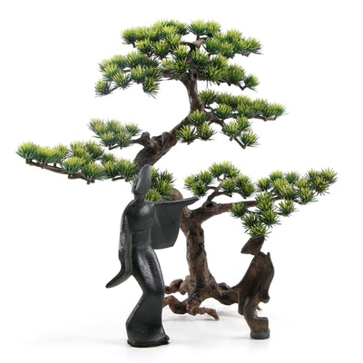 East Asian Cast Metal Figurine with Faux Bonsai Tree