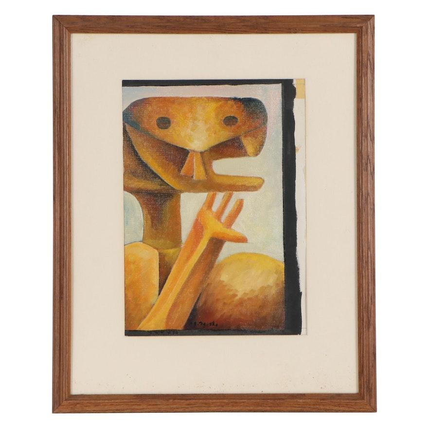 Robert Szesko Abstract Oil Painting of Figure