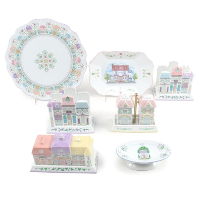 Lenox Village Porcelain Candy Dish, Cake Plate and Other Tableware