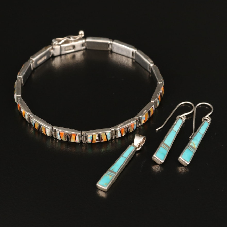 Southwestern Sterling Turquoise and Gemstone Inlay Jewelry Featuring Rick Tolino