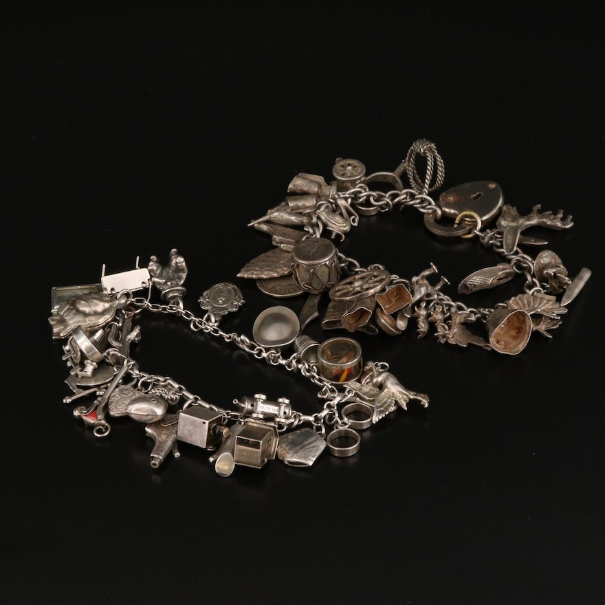 Charm Bracelet and Charms Featuring Sterling Silver