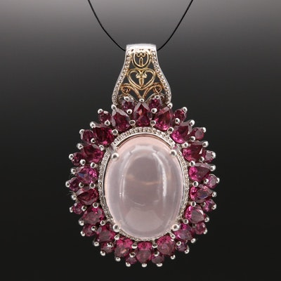 Sterling Rose Quartz and Garnet Pendant with Openwork Detail