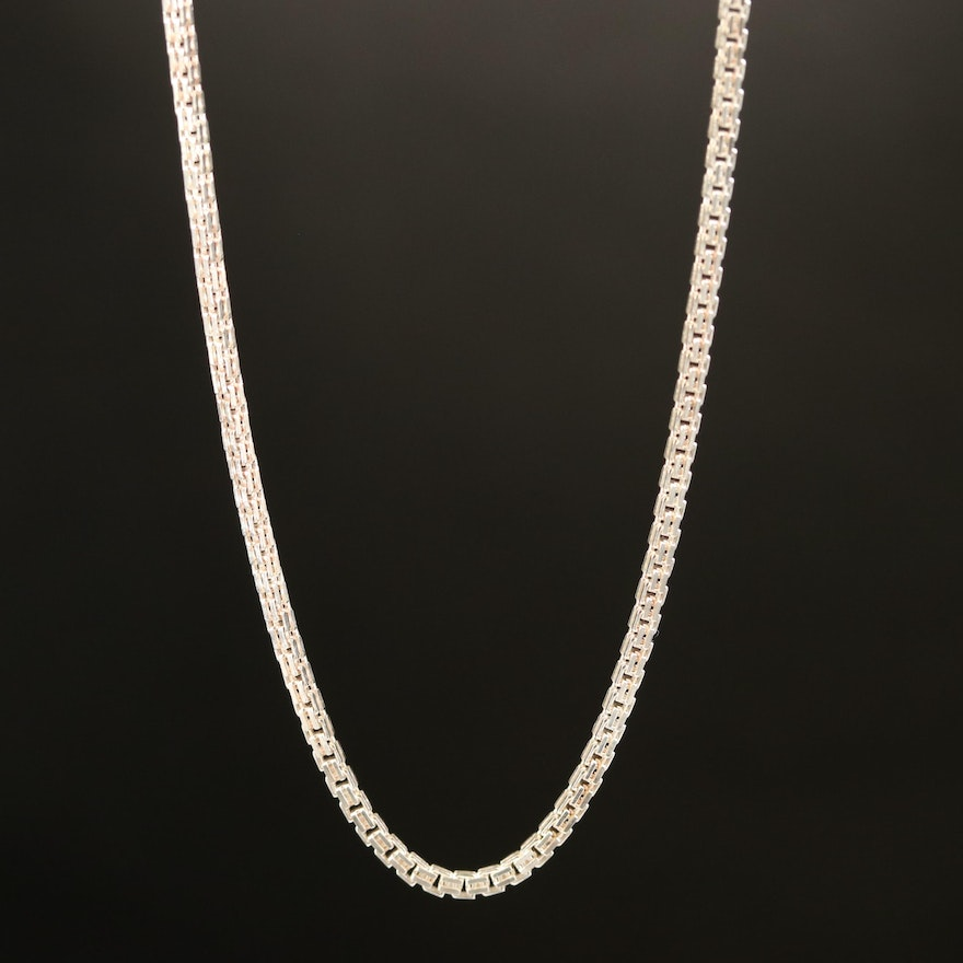 Nicky Butler Sterling Fancy Box Chain Necklace