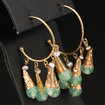 Vintage 14K Pearl and Green Glass Fringe Hoop Earrings