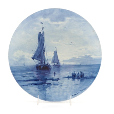"""Royal Delft """"Naar"""" Ceramic Plate Painted After H.W. Mesdag, 1928"""