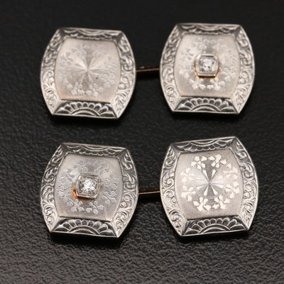 Antique Platinum and 14K Diamond Cufflinks