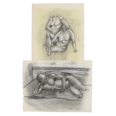 Robert Szesko Pastel and Charcoal Figure Drawings, circa 1981