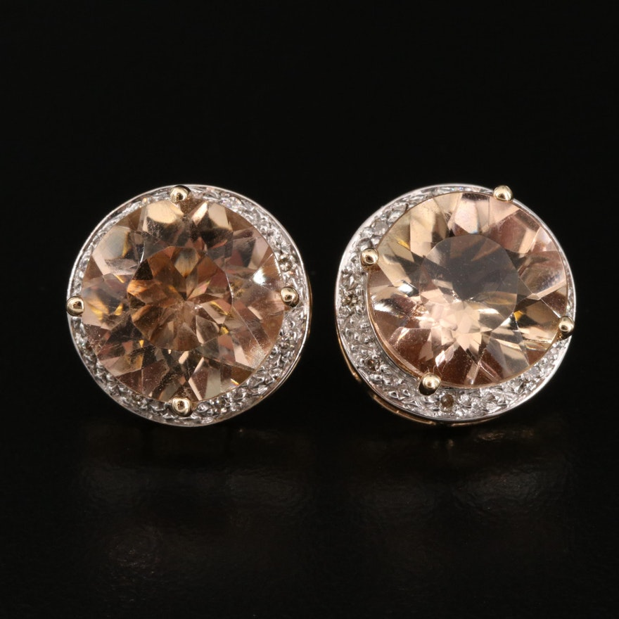 14K Citrine and Diamond Button Earrings