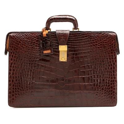 Hartmann Alligator Skin Frame Top Briefcase