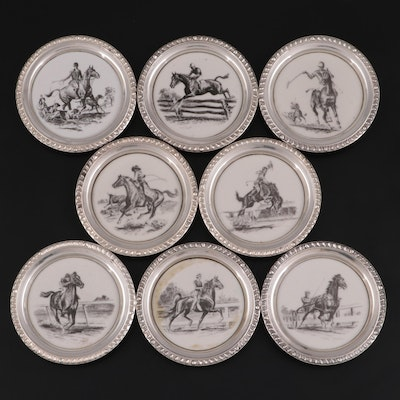 Delano Studios for Frank M. Whiting Sterling Silver Rimmed Equine Coasters