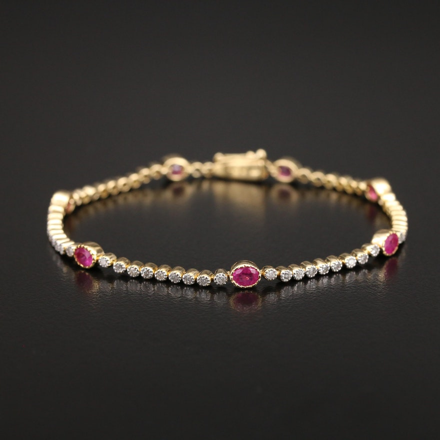 18K Ruby and Diamond Line Bracelet