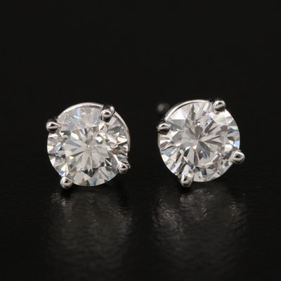 18K 1.17 CTW Diamond Stud Earrings with GIA Report and GIA eReport