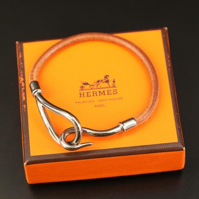 Hermès Leather Jumbo Hook and Eye Bracelet