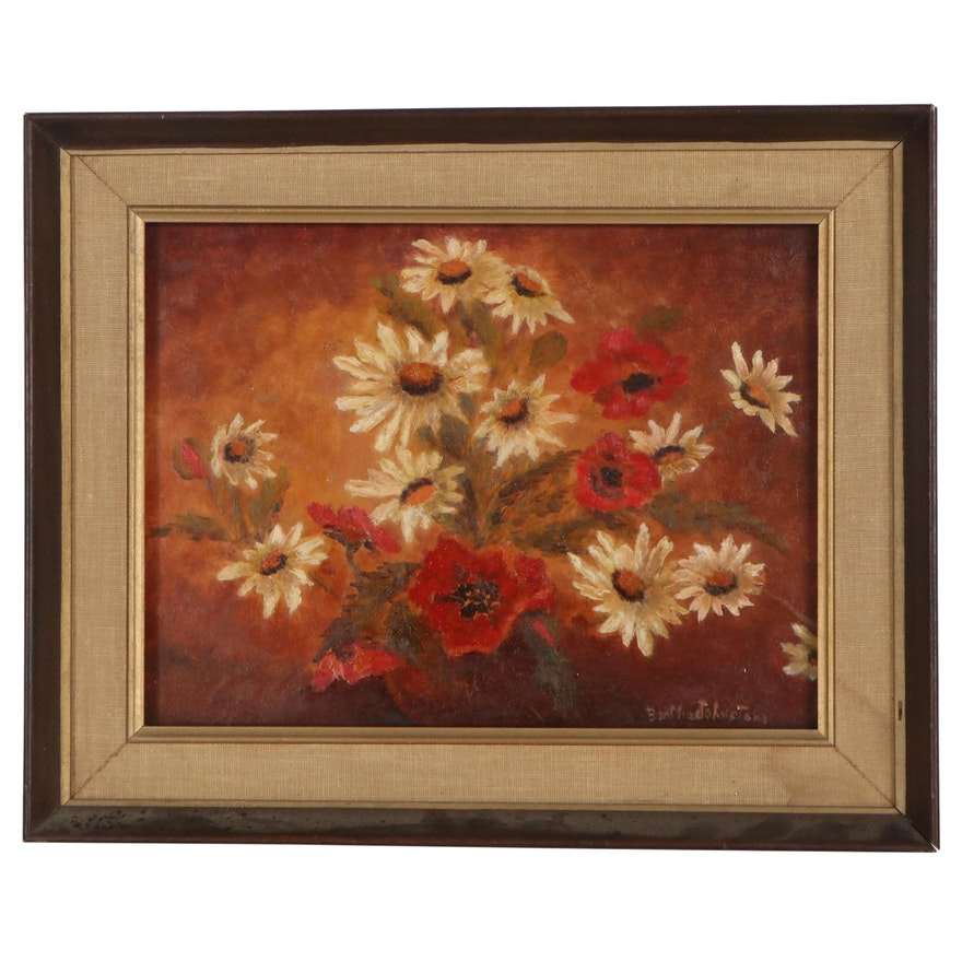 Bertha Johnstone Floral Still Life Oil Painting