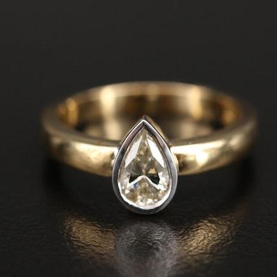 18K 0.69 CT Bezel Set Diamond Solitaire Ring