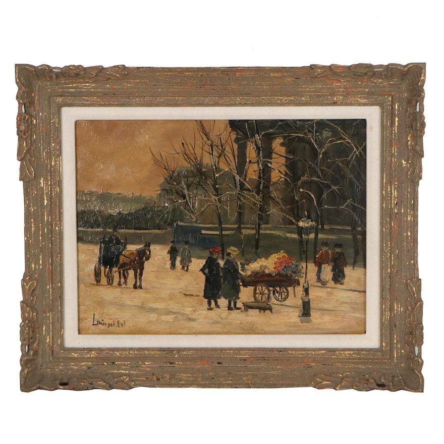 Louis Van der Pol Oil Painting of Winter Scene with Figures