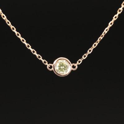 18K 0.23 CT Bezel Set Yellow Diamond Necklace