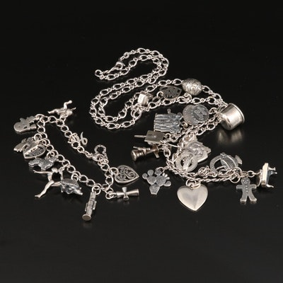 Vintage Sterling Charm Necklace and Bracelet with Heart and Armadillo Charms