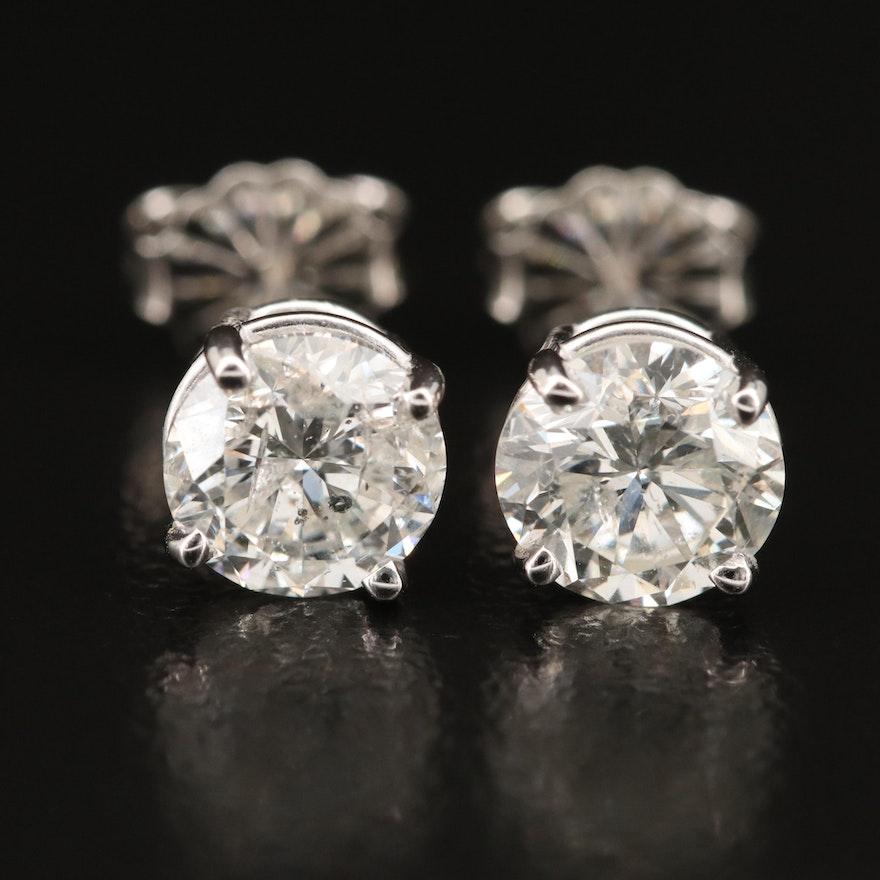 Platinum 2.05 CTW Diamond Stud Earrings with GIA Diamond Dossier and eReport