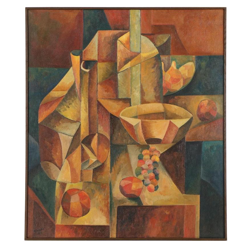 "Robert Szesko Cubist Style Oil Painting ""Still Life,"" 1971"