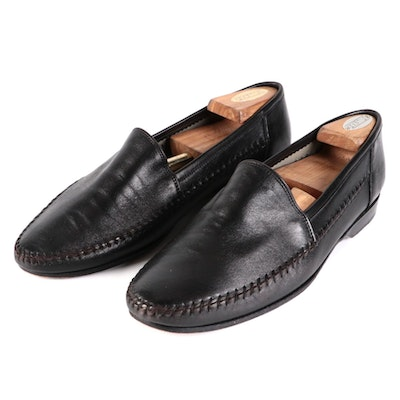 Men's Lorenzo Banfi Loafers in Black Leather with Wooden Shoe Trees