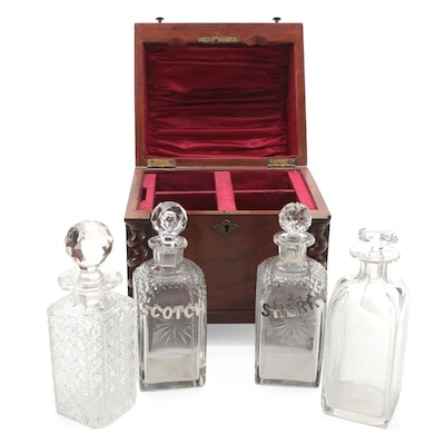 Victorian Mahogany Cave-Á-Liquor with Cut Glass Decanters and Silver Bottle Tags