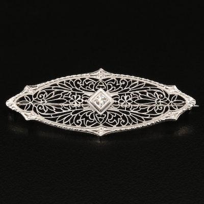 1930s 10K Diamond Filigree Brooch