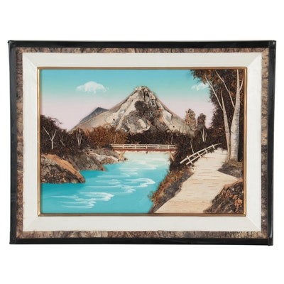 Bridge Over Mountain River Landscape Mixed Media Painting, circa 1956