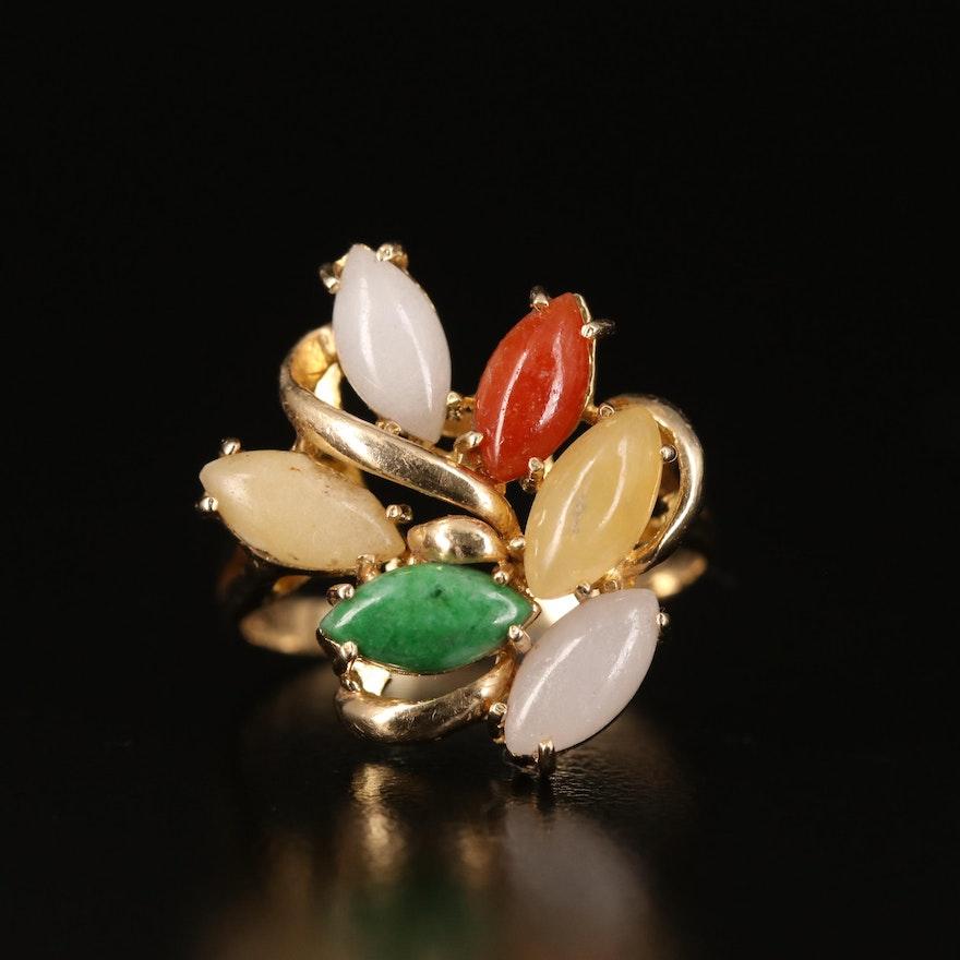14K Jadeite Cluster Ring