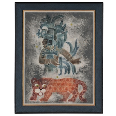 """Dale Nichols Oil Painting Rubbing """"Invoking the Sacred Tiger,"""" 1973"""