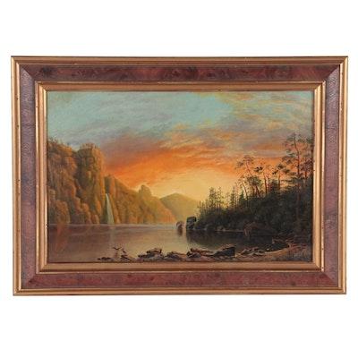 Hudson River School Style Landscape Oil Painting