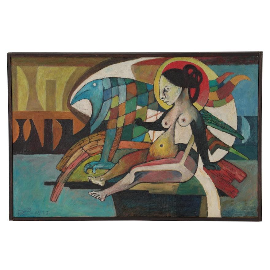 "Lenore Szesko Oil Painting ""Livvie is Back,"" 1972"