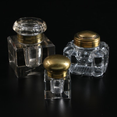 Glass and Brass Inkwells, Late 19th/Early 20th Century