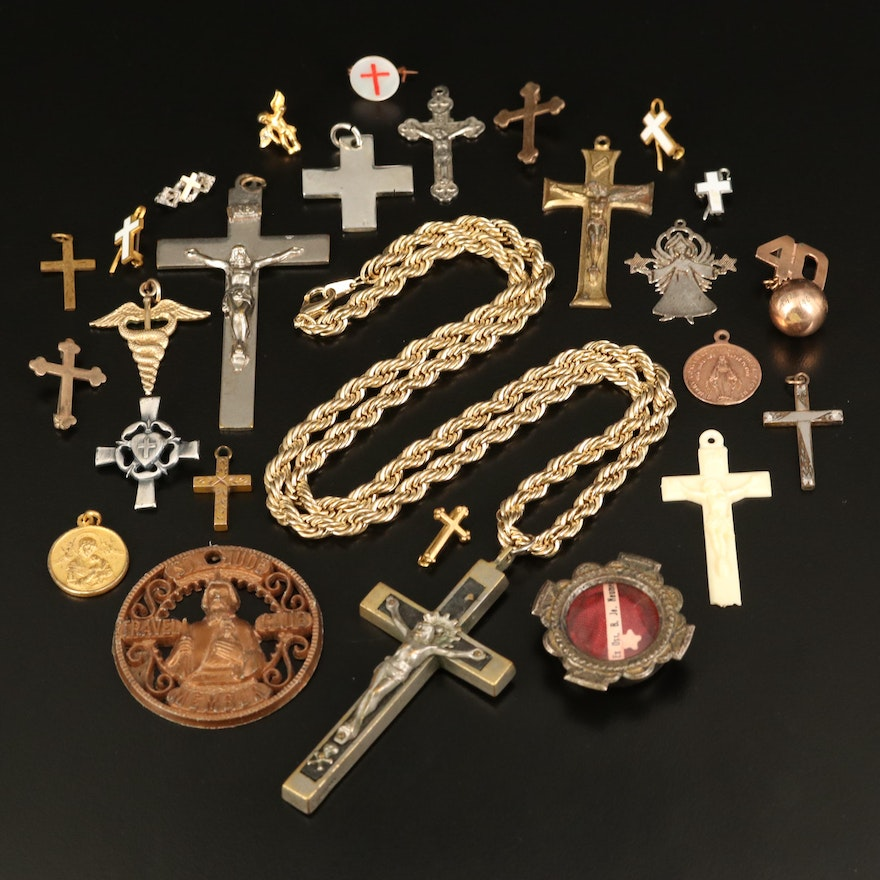 Evangelical Cross Pendants, Pin and Necklace