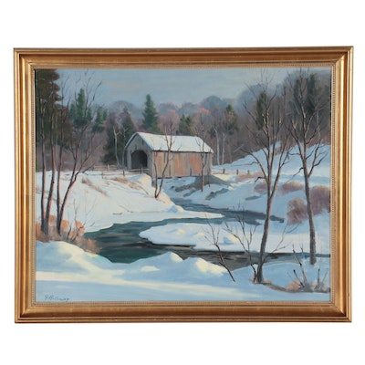 George Holloway Winter Landscape Oil Painting