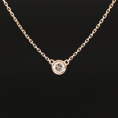 18K 0.27 CT Bezel Set Diamond Solitaire Necklace