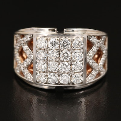 18K 2.01 CTW Diamond Ring with Rose Gold Gallery Inlay