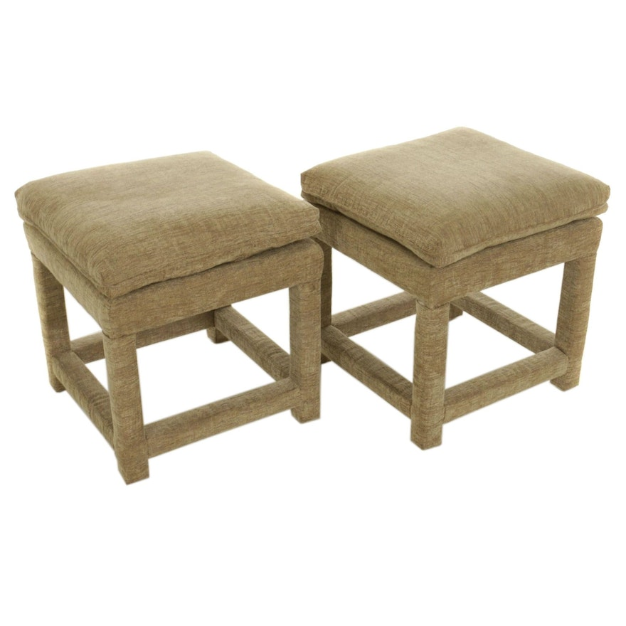 Pair of Contemporary Upholstered Pillow-Top Stools