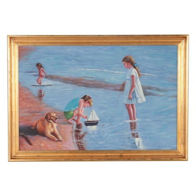 Oil Painting of Children Playing at the Seaside
