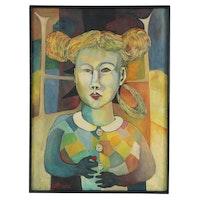 """Lenore Szesko Portrait Oil Painting """"Vrolok,"""" 1975"""