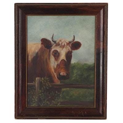 Oil Painting of Cow, Circa 1900
