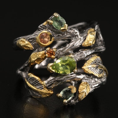 Sterling Silver Peridot and Sapphire Biomorphic Ring