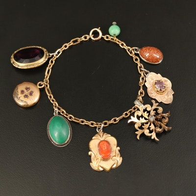 Gold Filled Charm Bracelet with Victorian and Vintage Charms