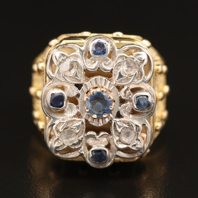 18K, 14K and Sterling Sapphire and Diamond Ring with Textured Shoulders