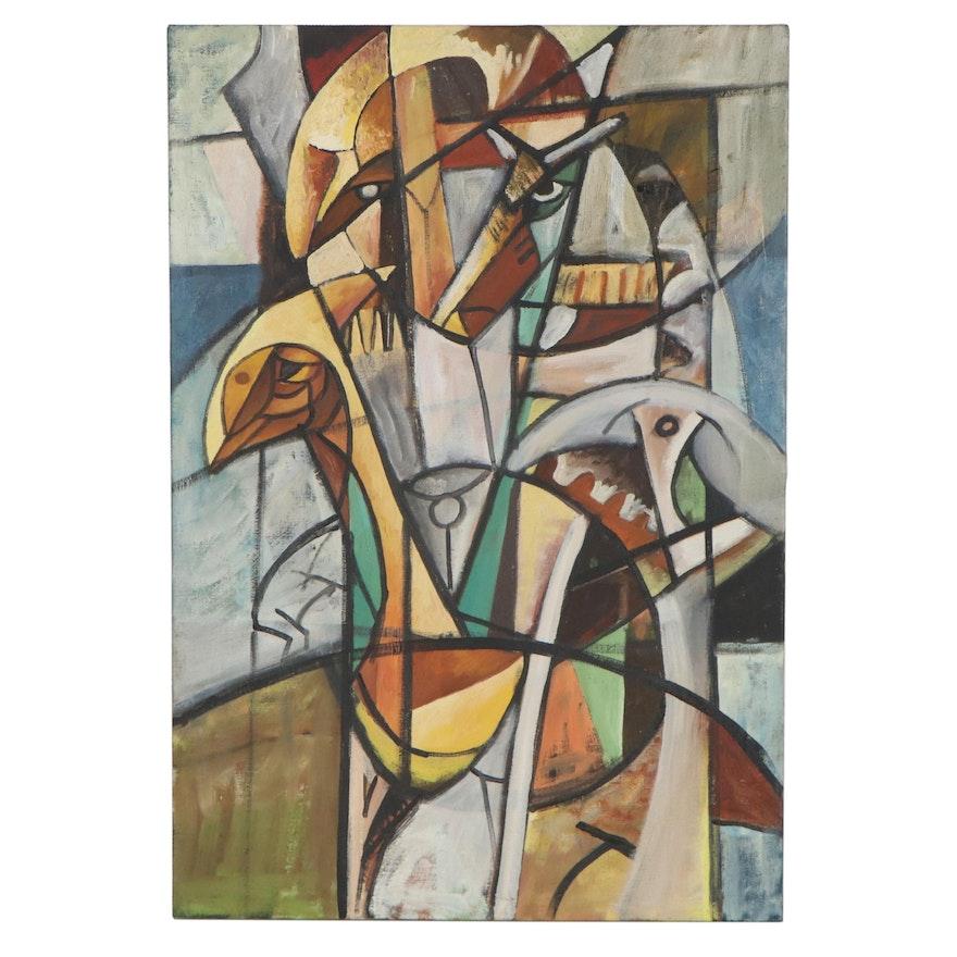 Robert Szesko Cubist Style Figural Oil Painting
