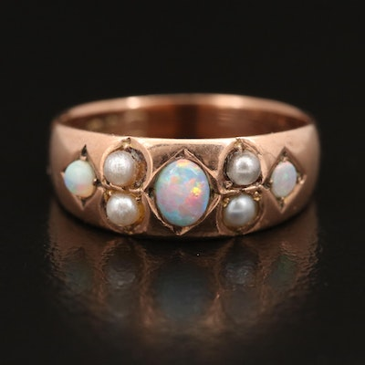 Antique English 9K Opal and Pearl Ring