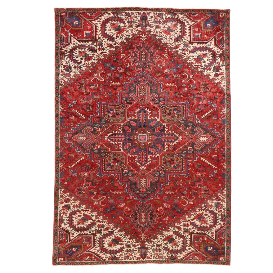 7'10 x 11'7 Hand-Knotted Persian Heriz Room Sized Rug